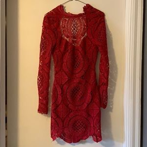 Red crochet mini dress